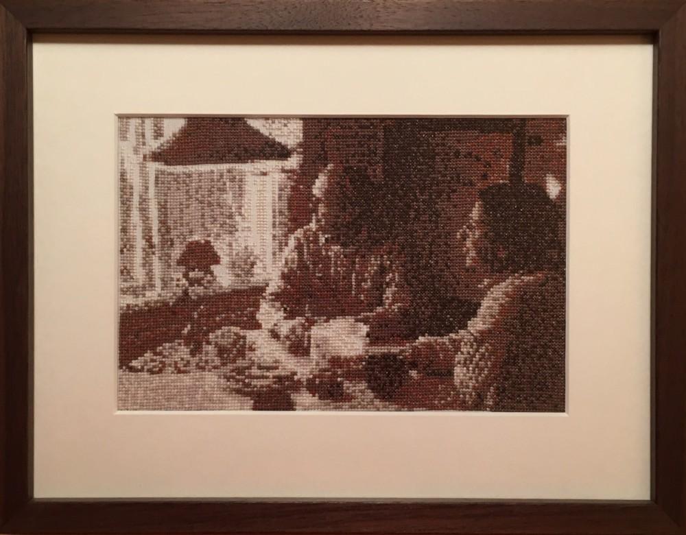 Korsstygn, merceriserad bomull på bomull/modal, 22x15 cm, 2015